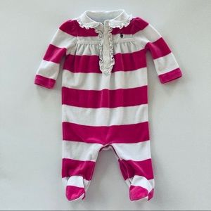 Ralph Lauren Baby Girl Pink Velour Footie